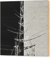 Eiffel Tower Abstract Bw Wood Print
