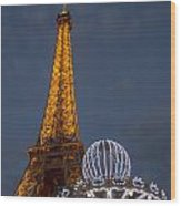 Eiffel Tower At Night Wood Print