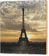 Eiffel Tower At Sunset Wood Print by Debra and Dave Vanderlaan