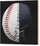 Eiffel Tower Baseball Square Wood Print