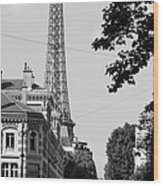 Eiffel Tower Black And White 4 Wood Print