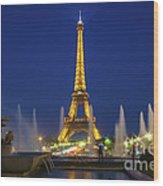 Eiffel Tower By Night  Wood Print