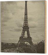 Eiffel Tower Wood Print by Debra and Dave Vanderlaan