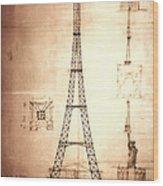 Eiffel Tower Design Wood Print