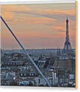 Eiffel Tower From Above Wood Print