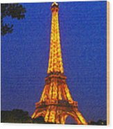 Eiffel Tower Illuminated Wood Print
