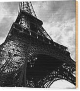 Eiffel Tower In Black And White. Ominous Sky Overhead Wood Print