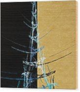 Eiffel Tower In Blue Abstract Wood Print