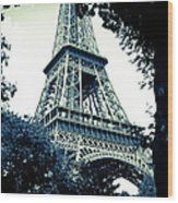 Eiffel Tower In Blue Wood Print