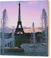 Eiffel Tower In Evening Light Wood Print
