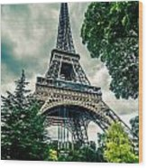 Eiffel Tower In Hdr Wood Print