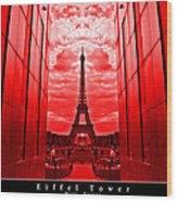 Eiffel Tower In Red Wood Print