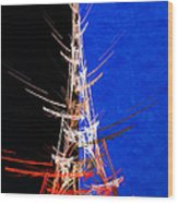 Eiffel Tower In Red On Blue  Abstract  Wood Print