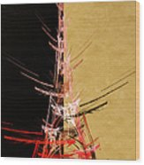 Eiffel Tower In Red On Gold  Abstract  Wood Print