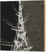 Eiffel Tower In White Bw 2 Abstract Wood Print