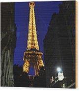 Eiffel Tower Paris France At Night Wood Print