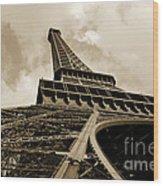 Eiffel Tower Paris France Black And White Wood Print