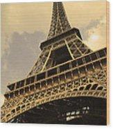 Eiffel Tower Paris France Sepia Wood Print by Patricia Awapara
