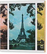 Eiffel Tower Paris France Trio Wood Print