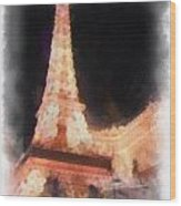 Eiffel Tower Paris Las Vegas Photo Art Wood Print