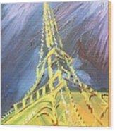 Eiffel Tower Paris Night Wood Print