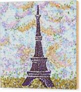 Eiffel Tower Pointillism Wood Print