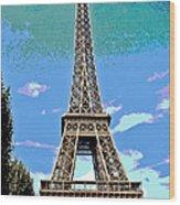 Eiffel Tower Posterized Wood Print