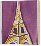 Eiffel Tower Purple And Yellow Wood Print