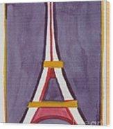 Eiffel Tower Purple Red Wood Print
