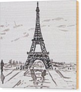 Eiffel Tower Rainy Day Wood Print by Kevin Croitz