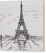 Eiffel Tower Rainy Day Wood Print