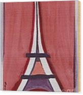 Eiffel Tower Red White Wood Print