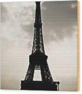 Eiffel Tower Silhouette Wood Print by Nila Newsom