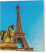 Eiffel Tower With Horse Wood Print