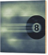 Eight Ball In Motion Wood Print