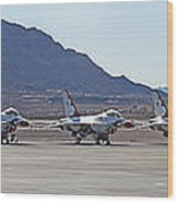 Eight F-16 Thunderbird Falcon's On Static Display Nellis Wood Print