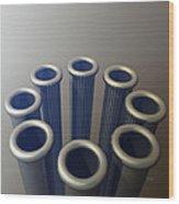 Eight Metallic Tubes Wood Print