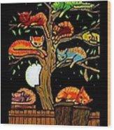 Eight Tree Cats Wood Print