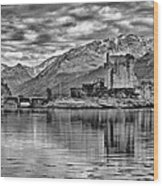 Eilean Donan - A Reflection Without Colour Wood Print