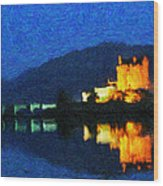 Eilean Donan At Night Wood Print