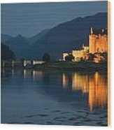 Eilean Donan Castle At Night Wood Print