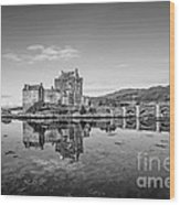 Eilean Donan Castle Black And White Wood Print