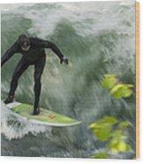 Eisbach Surfing Wood Print