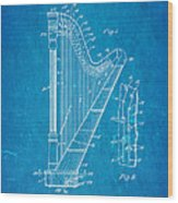 Ekman Harp Patent Art 1905 Blueprint Wood Print
