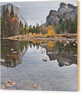 El Capitan Reflected In The Merced River Wood Print