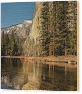 El Capitan Reflection In Merced River Wood Print