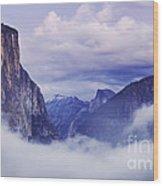El Capitan Rises Above The Clouds Wood Print