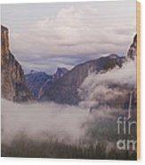 El Capitan Rises Over The Clouds Wood Print