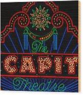 El Capitan Theatre Sign In Hollywood Wood Print