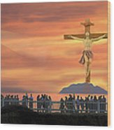 El Faro Christ Sunset Photo Illustration Wood Print